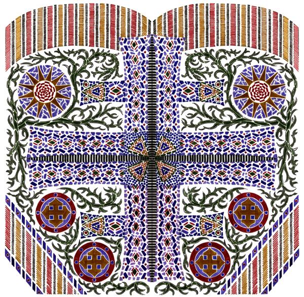 Blue Cross Mosaic Screen-Print