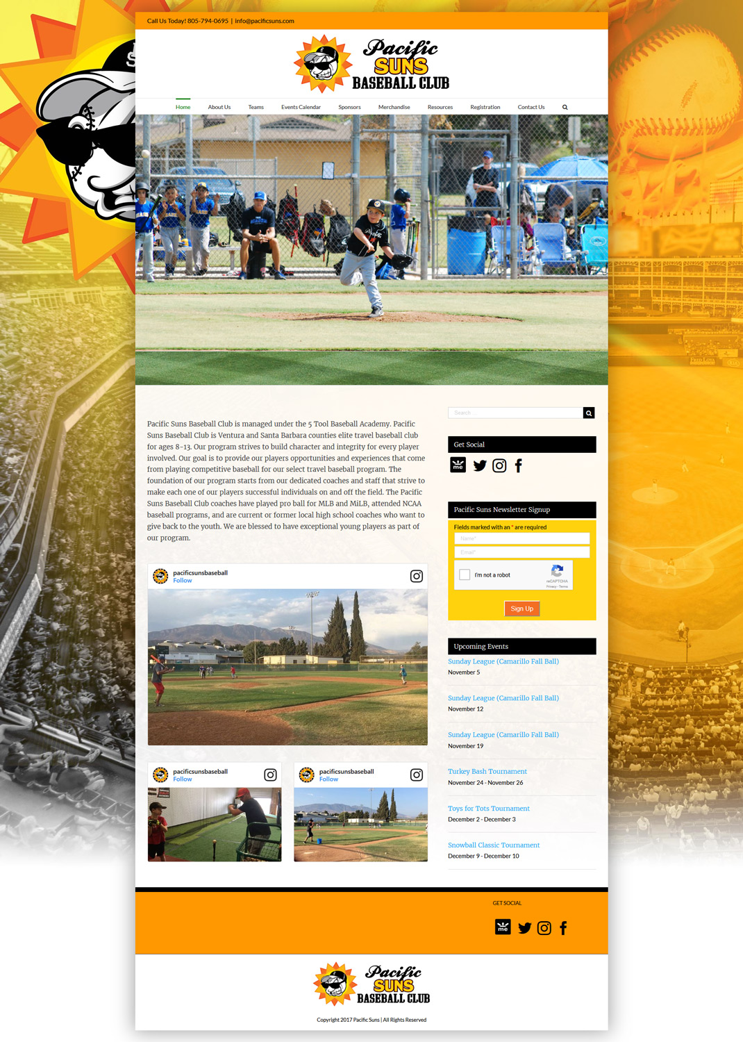PacificSuns.com Baseball website homepage