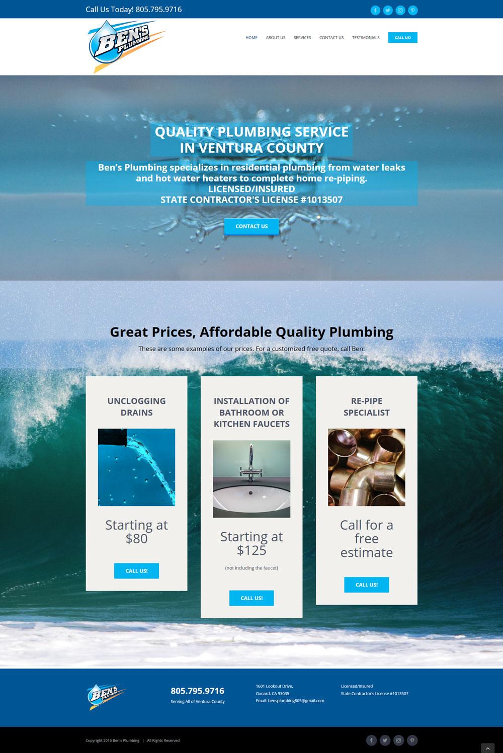 Ben's Plumbing Website