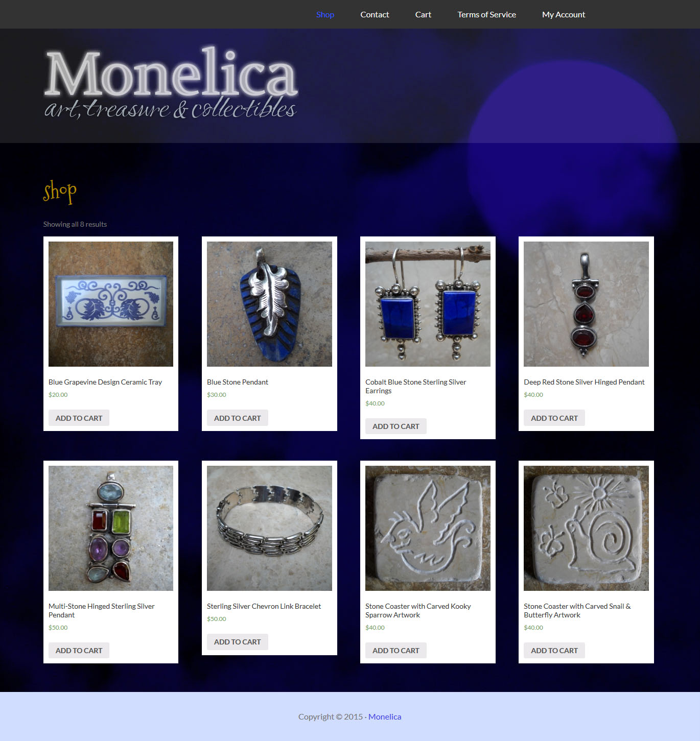 monelica.com WordPress eCommerce website design