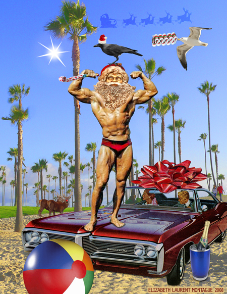 Muscle Santa -Collage Art
